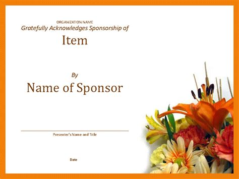 certificate of appreciation for sponsorship template certificate of appreciation to sponsor office templates