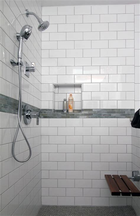 4x12 Subway Tile Bathroom by White Subway Tile Shower With Accent Hd Master Bathroom