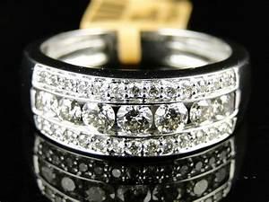 14K New Mens White Gold Round Cut Diamond Ring Wedding