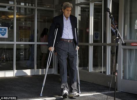 john kerry leaves hospital  crutches  days