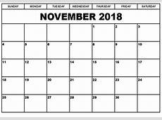 Get November Landscape & Portrait 2018 Calendar Printable