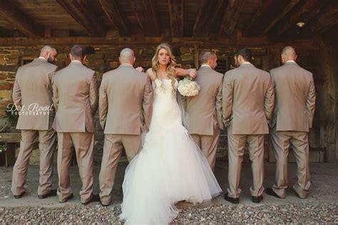 Barn Wedding Dresses : Tan Suits. Mermaid Wedding Dress. White Bouquet. Barn