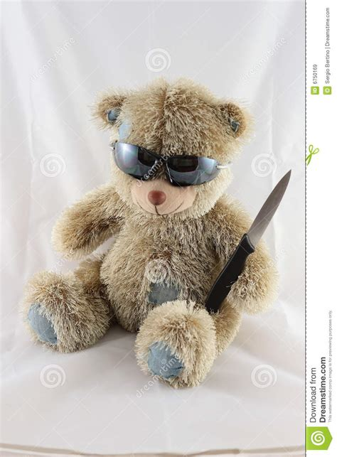 scary teddy bear   knife royalty  stock images