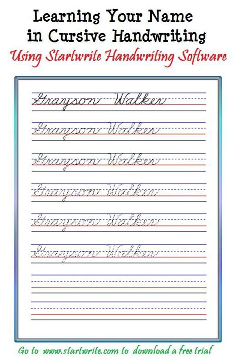 introducing children to cursive with their name from