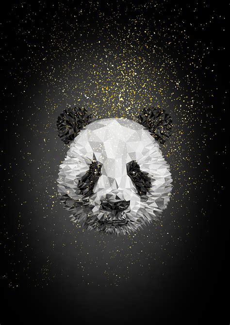 wallpaper panda  poly  creative graphics