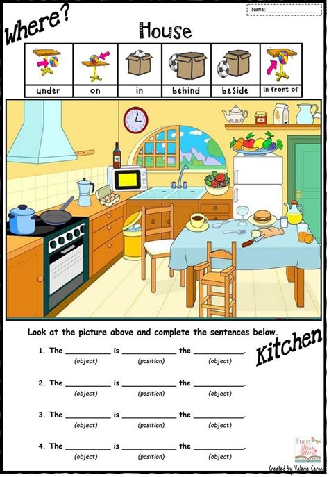 english worksheet preposition  place schematic