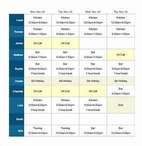 employee shift schedule template 12 free word excel With restaurant work schedule template