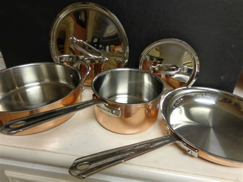 cuisinart copper exterior stainless steel  piece cookware set pots pan ebay