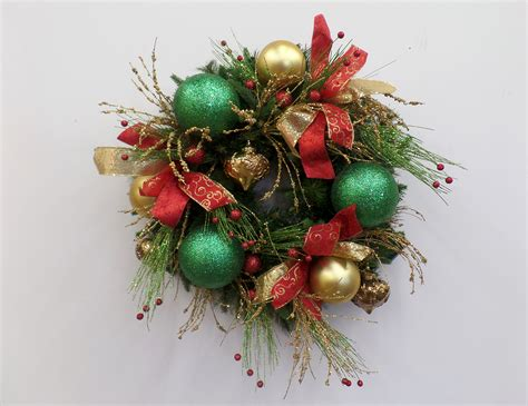 show me a red green and gold christmas wreath diy miss cayce s christmas store