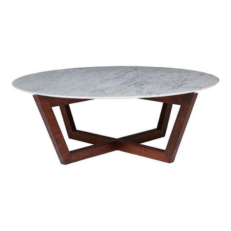 Modern Designer Round Italian Marble Coffee Table Walnut