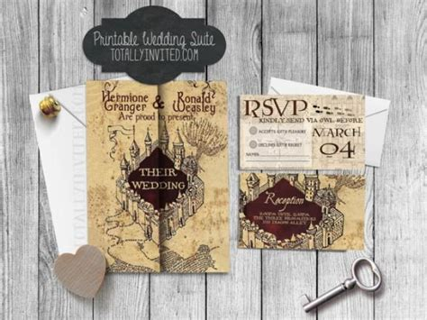 harry potter wedding invitation set marauders map