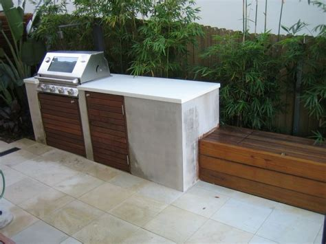 Backyard Built In Bbq by Like The Minimal Concrete Bench Exterior Bbq S