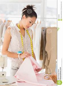 Concentrated Female Fashion Designer At Work Stock Photo ...