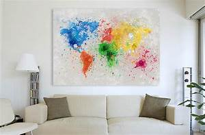tableau grand format carte du monde splash the world With couleur moderne pour salon 9 tableau panoramique noir blanc design grand format