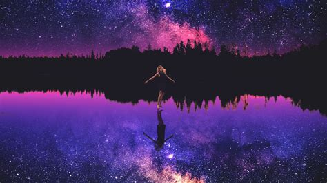 wallpaper happy girl starry sky reflections silhouette