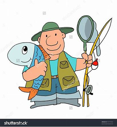 Clipart Fishing Worth Pole Cartoon Fish Catching