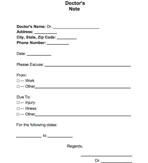dr note template for work 25 free doctor note excuse templates template lab