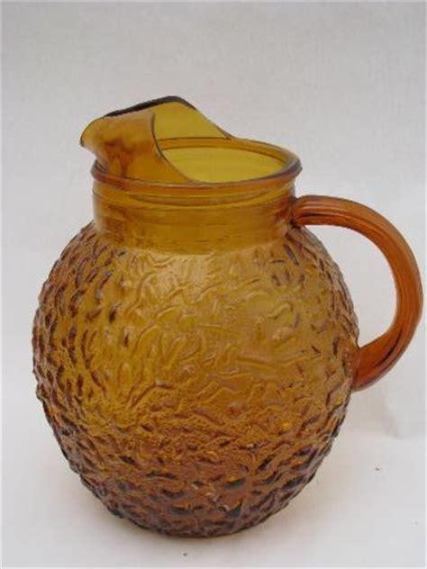 amber brown, retro Sorreno glass pitcher, vintage Anchor