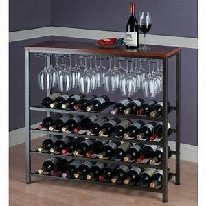 Winsome, Michelle, Wine, Rack, With, Glass, Hanger, Antique, Bronze