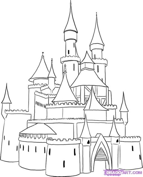 cartoon castle   draw  medieval castle step