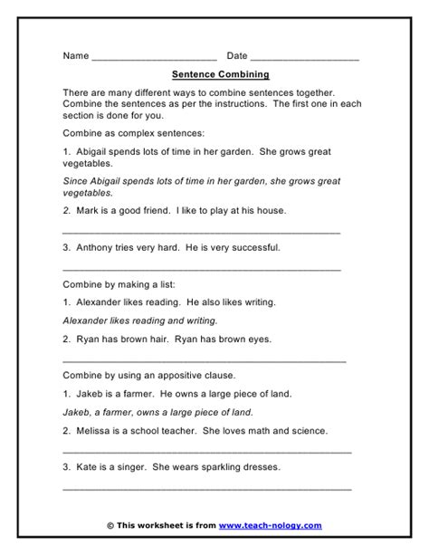 Making Complex Sentences Sentence Combining