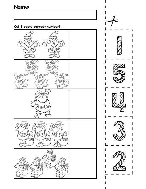 santa number cut match worksheets numbers 1 5 autism