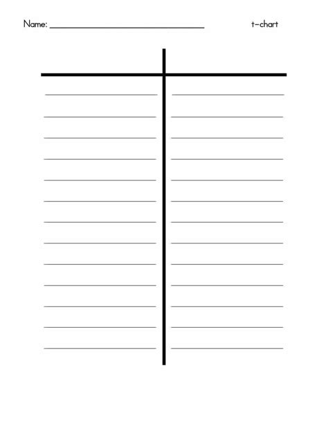 This Is Your Template by 30 Printable T Chart Templates Exles Template Archive