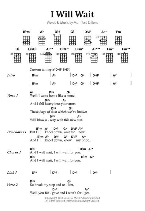 mumford sons i will wait i will wait sheet music by mumford sons banjo lyrics