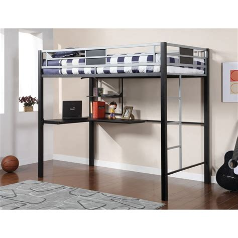 twin metal loft bed with desk furniture of america egon twin metal loft bed with desk in