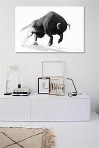 Tableau Moderne Noir Et Blanc : tableau moderne minimaliste taureau nouveaut ~ Teatrodelosmanantiales.com Idées de Décoration