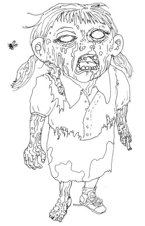 Girl Zombie Coloring Page | Coloring pages, Cool coloring