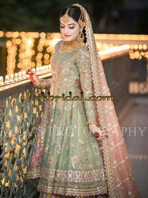 heavy embroidered pakistani traditional latest bridal wear