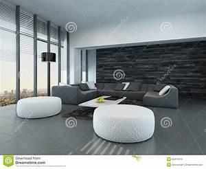 Salon Gris Blanc : int rieur d 39 un salon gris et blanc moderne illustration stock image 42475370 ~ Dallasstarsshop.com Idées de Décoration