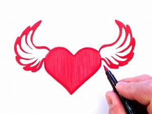 How to Draw a Heart with Wings - YouTube