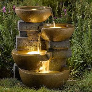 Water fountain pots led lights outdoor yard garden water for Backyard water fountains