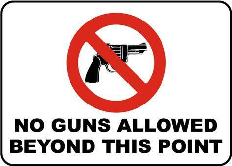 No Guns Allowed Beyond This Sign By Safetysign.com