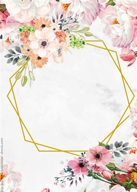 FREE Vintage Floral Watercolor with Marble Invitation