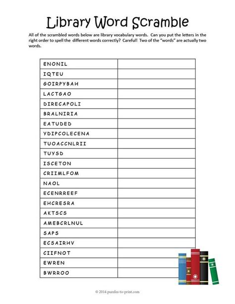 library worksheets pdf 14 best images about library word puzzles on