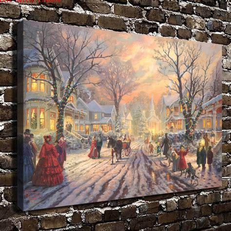 thomas kinkade victorian christmas carol canvas painting