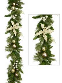 pre decorated antique gold bauble garland 2 3m garlands wreaths tinsel the christmas