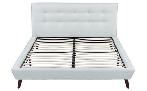 Ivory Linen Low Profile Platform Bed Frame With Tufted