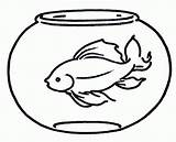 Coloring Printable Fish Bowl Goldfish Pages Popular sketch template