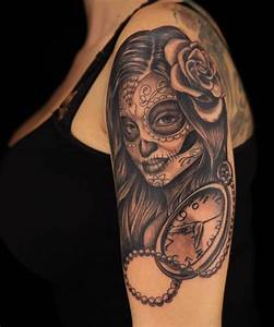 Damon Bultler day of the dead pinup black and grey tattoo ...