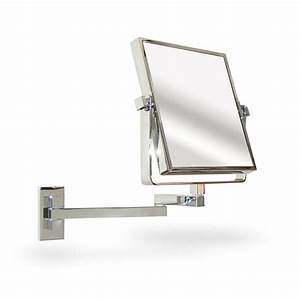 Extendable square wall mounted vanity shaving mirror for Wall mounted extendable mirror bathroom