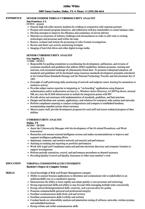 Cyber Security Resume by Cyber Security Analyst Resume Cyber Security Analyst
