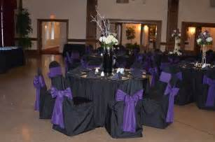 color schemes black table cloth purple ribbons gold