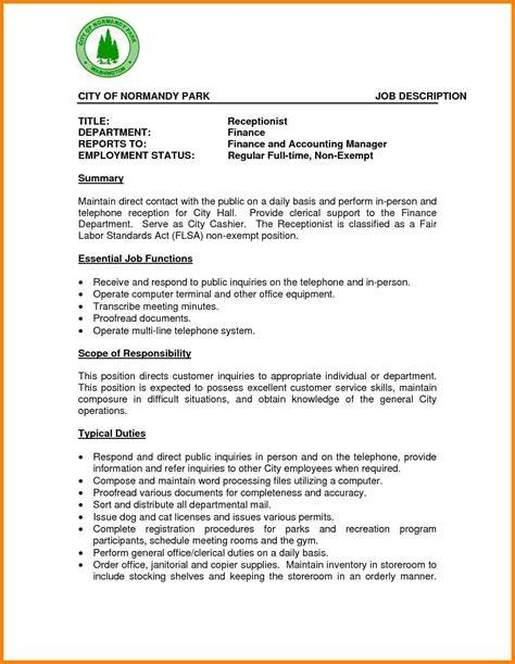 How To Write Resume Description by 8 Receptionist Description Introduction Letter