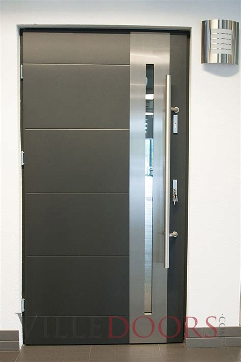 steel entry door quot new yorker quot stainless steel modern entry door with glass