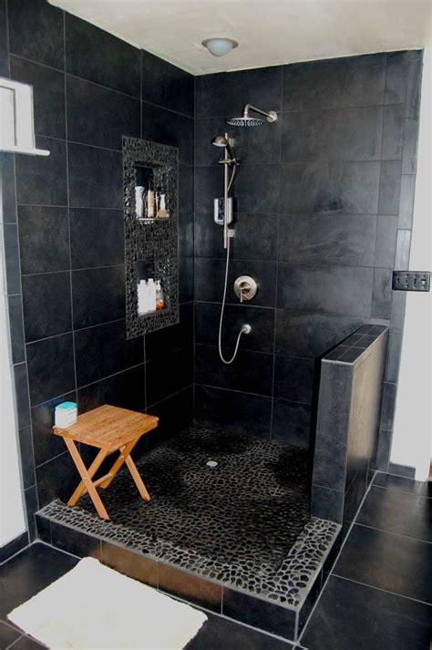 black tile bathroom ideas 20 modern bathrooms with black shower tile open showers