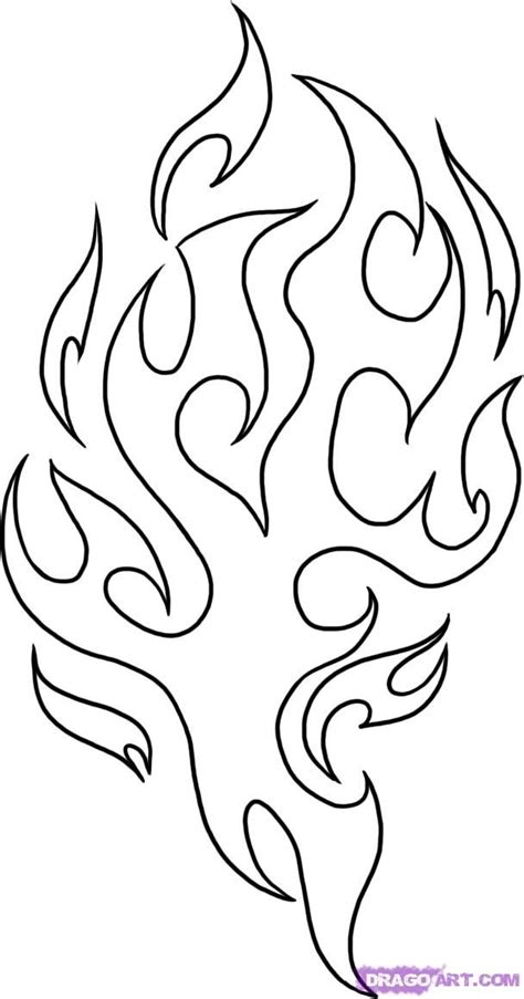 fire flames coloring pages leather drawing flames